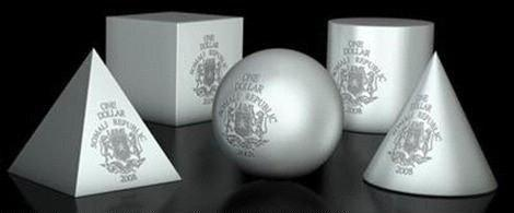 Somalia-2008-5x-1-Dollar-Geometrics-CONE-PYRAMID-BALL-CYLINDER-CUBE